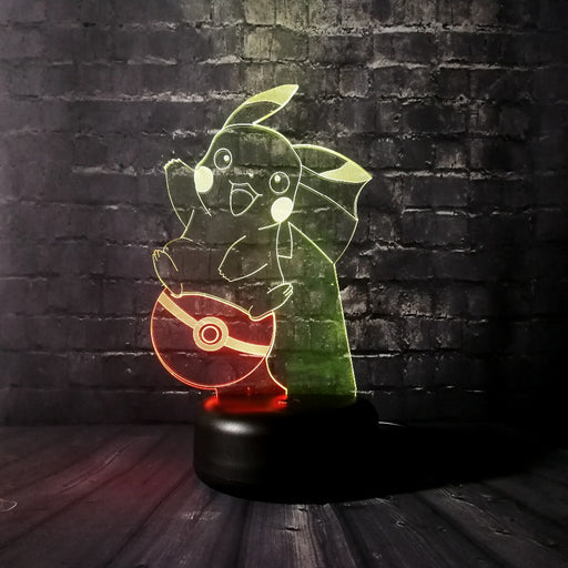 Pikachu on Pokeball 3D LED Lamp -  Color Split