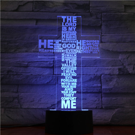 Christian Cross 3D LED Lamp