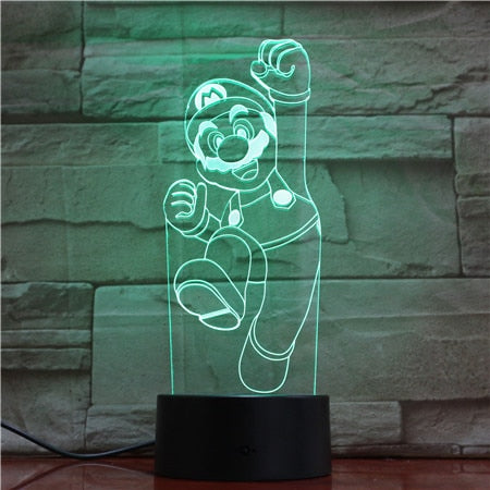 Mario Jumping 3D LED Lamp