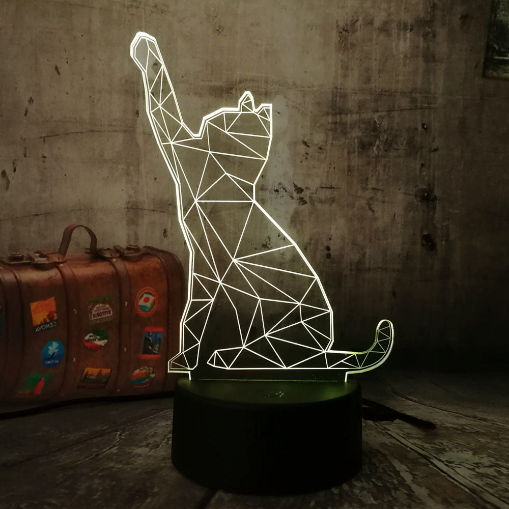 Cat Reaching 3D LED Lamp