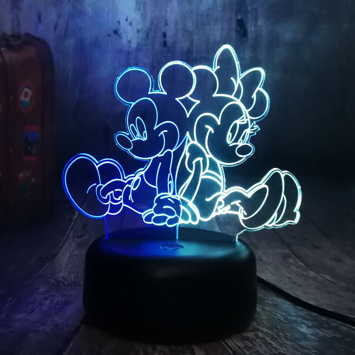 Mickey & Minnie 3D LED Lamp - Color Split