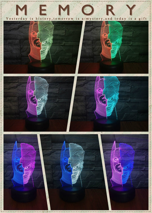 Batman/Joker 3D LED Lamp - Color Split