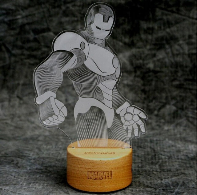 Ironman 3D LED Lamp with Wood Base