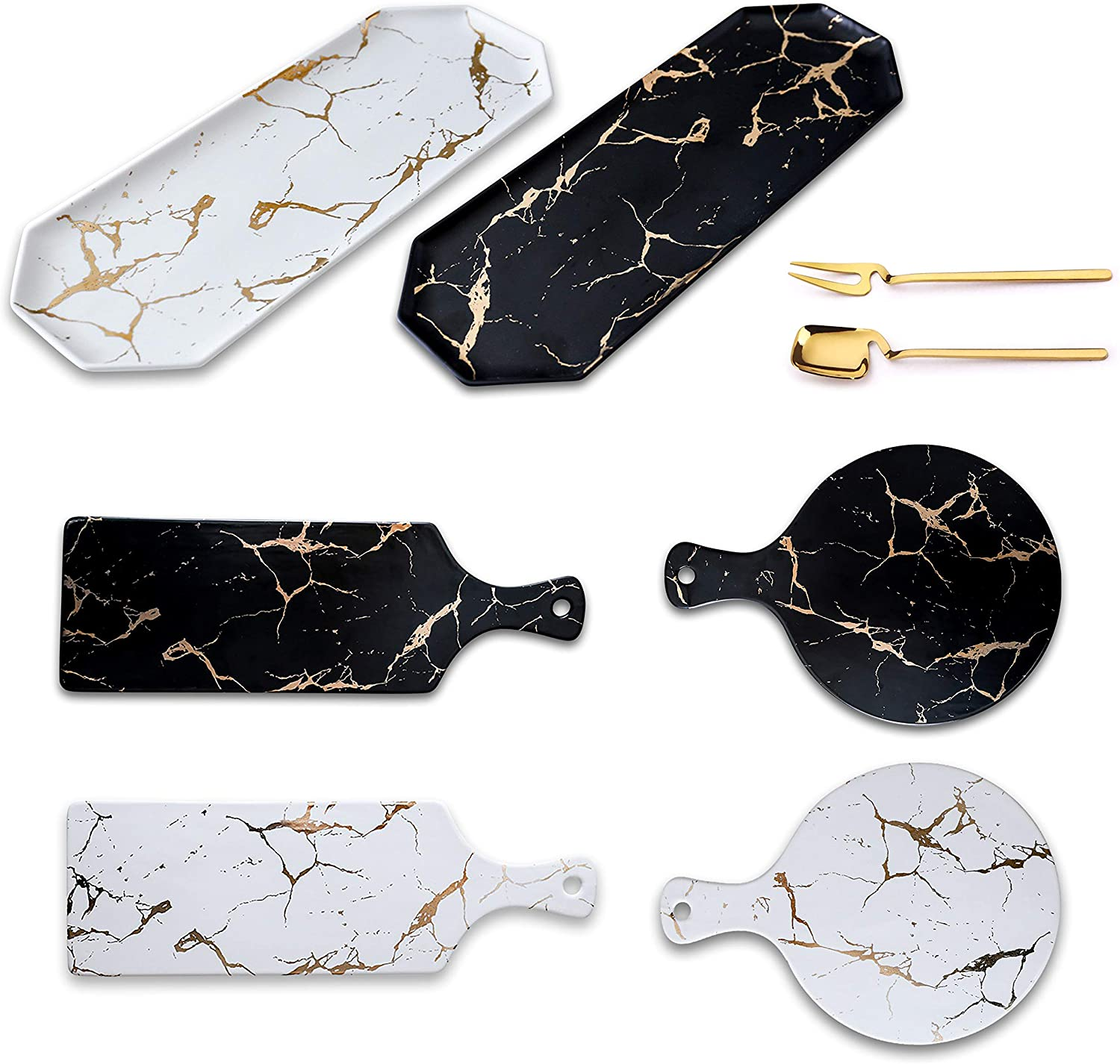 Ceramic Serving Platter Tray w/Gold Marble Pattern