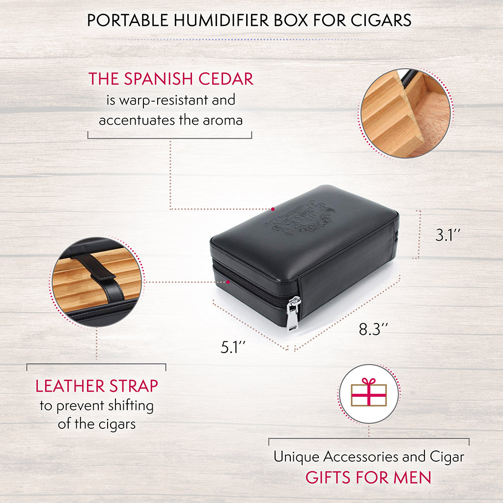 Travel Cigar Humidor - Black