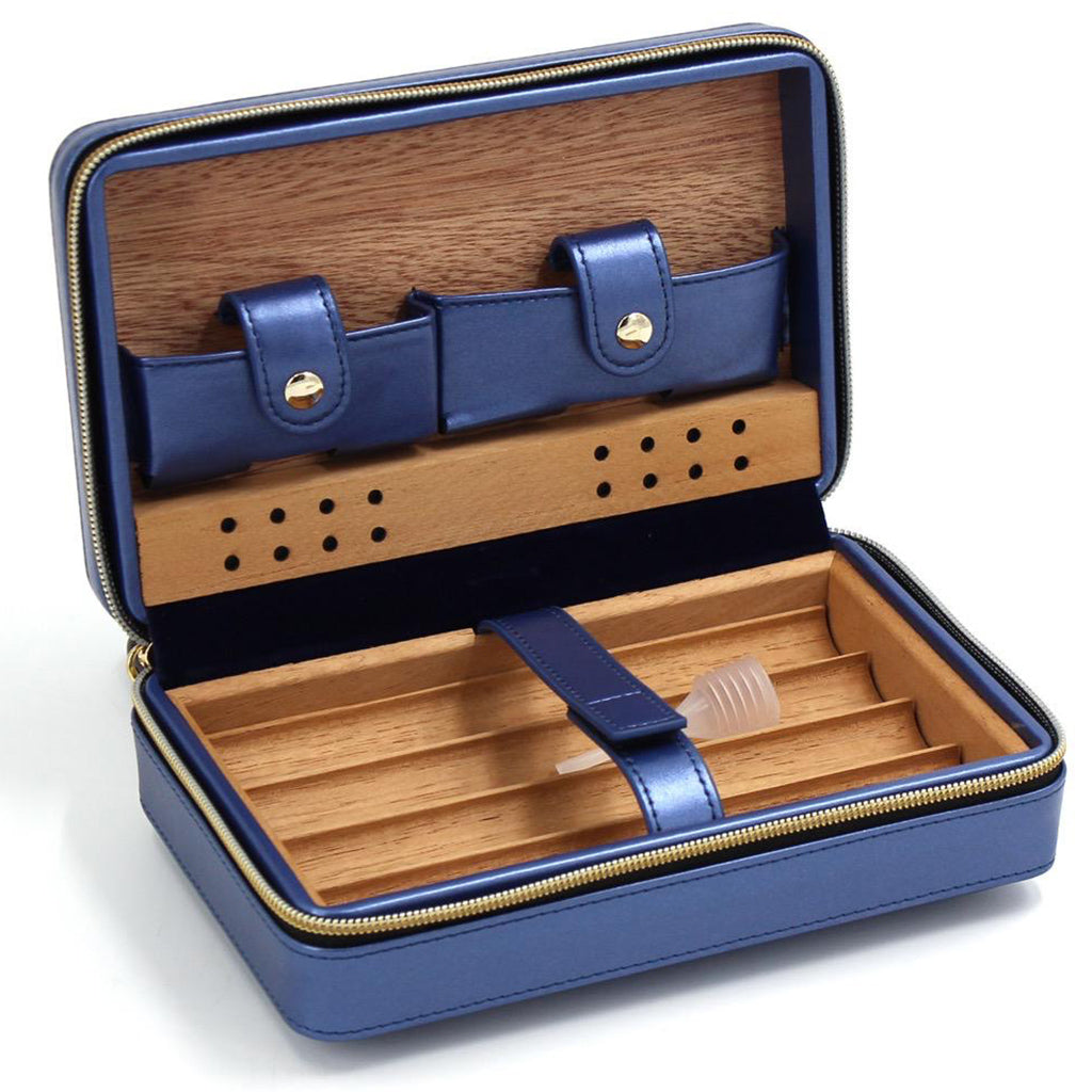 Baroque Royale - Travel Cigar Humidor - Blue - Open 1