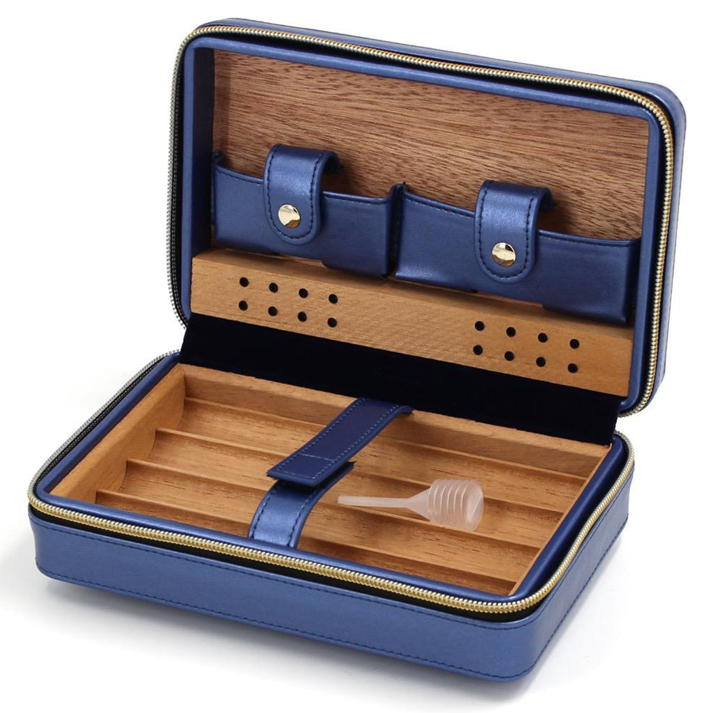 Baroque Royale - Travel Cigar Humidor - Blue - Open 2