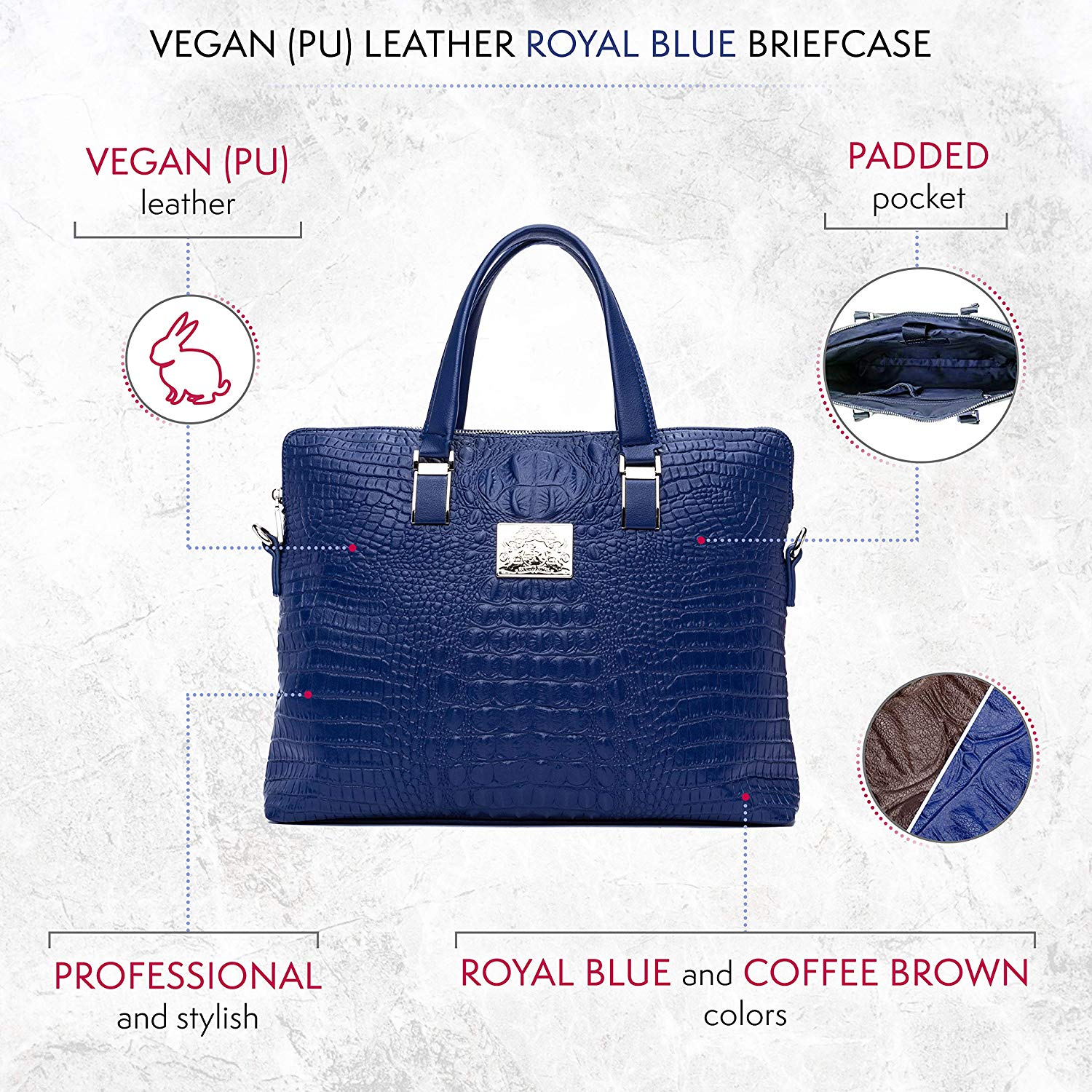Blue Vegan Leather Briefcase