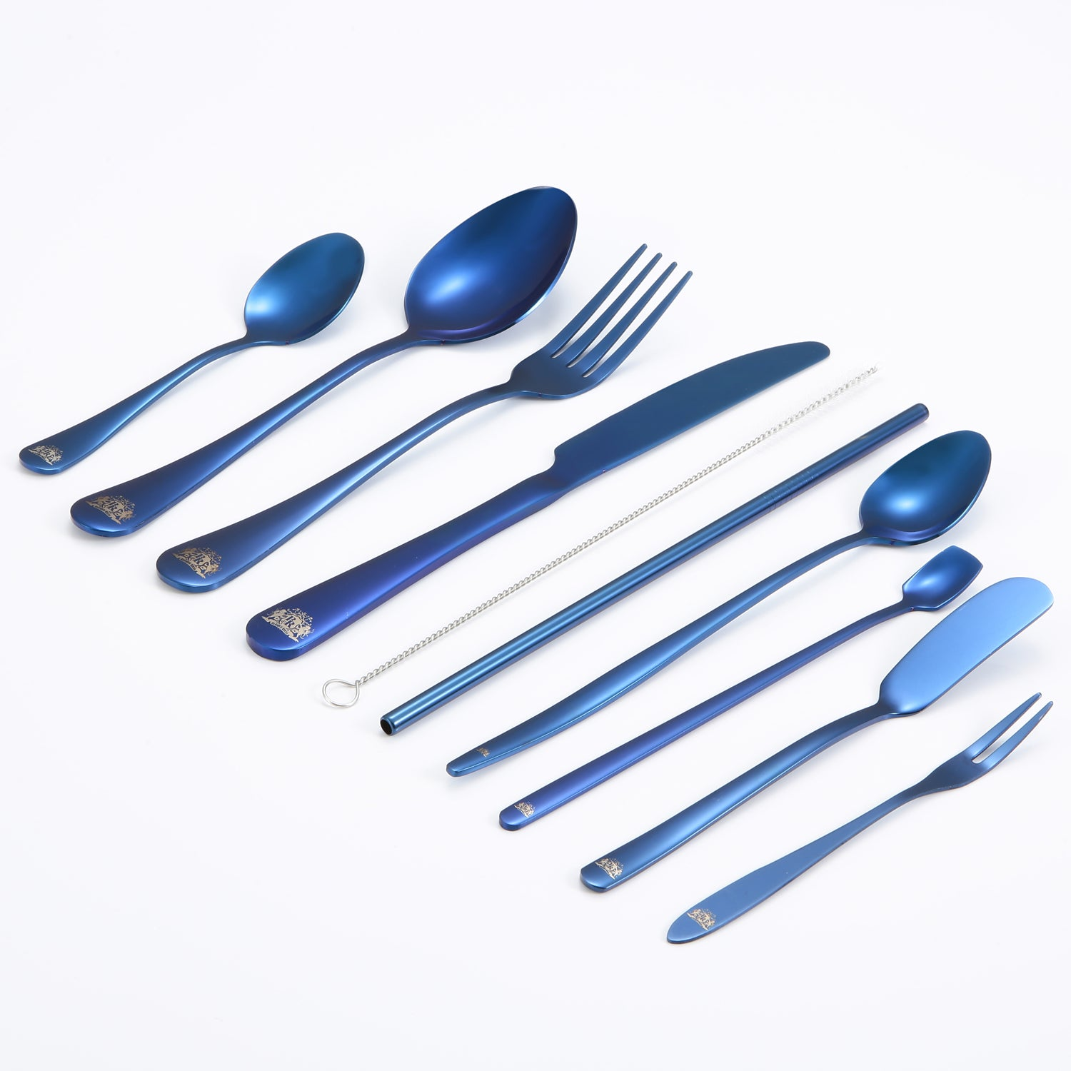 10-Piece Portable Travel Utensils Set - Blue