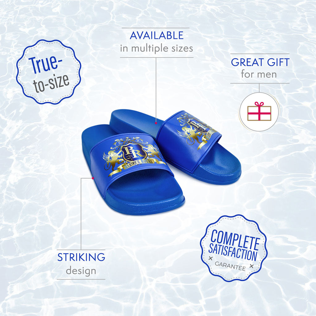 Baroque Royal Sport-Chic Rubber Slippers - Blue - info