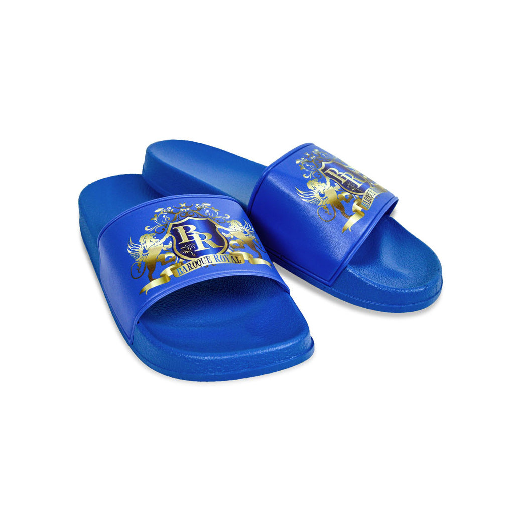 Baroque Royal Sport-Chic Rubber Slippers - Blue - side view