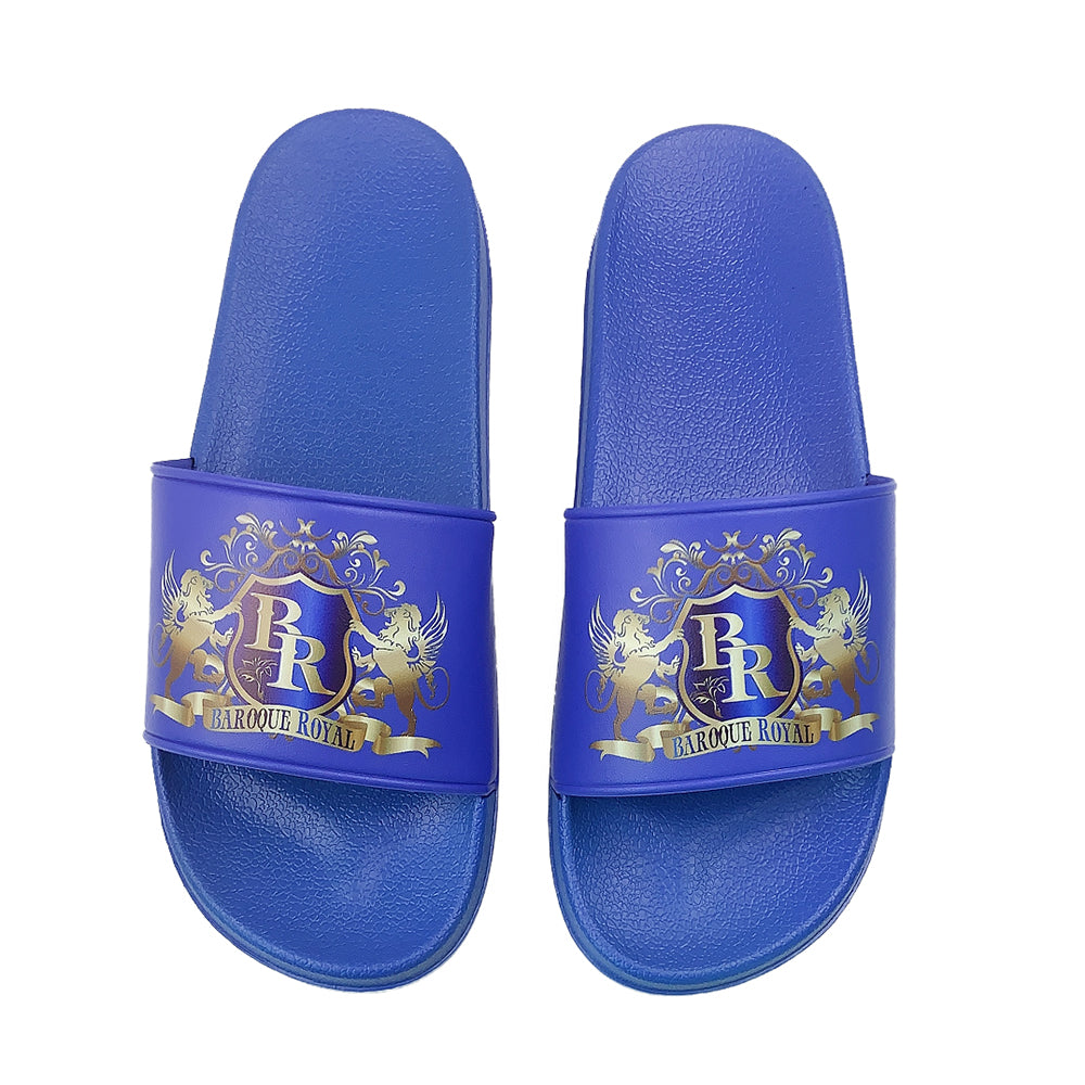 Baroque Royal Sport-Chic Rubber Slippers - Blue - top view