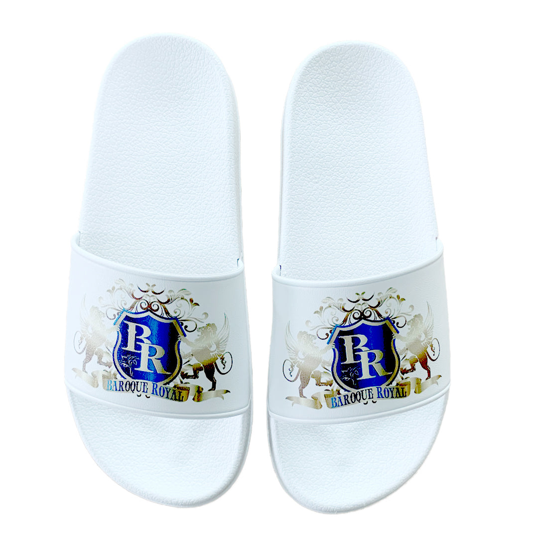 Baroque Royal Sport-Chic Rubber Slippers - White - top view