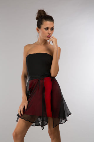 Little black dress with a chifon skirt in red silk
