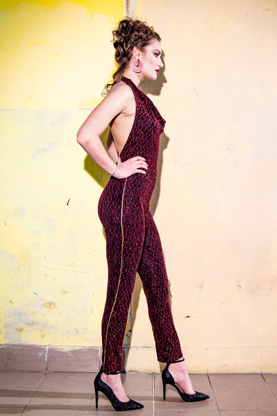 Halter Bill Red stretch with Gold detail halterneck jumpsuit