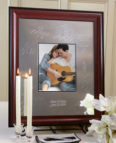 Mahogany Signature Frame Guest Book - I Do Engravables
