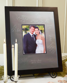Modern Block Black Guest Book - I Do Engravables