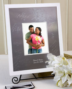 Modern Block White Guest Book - I Do Engravables