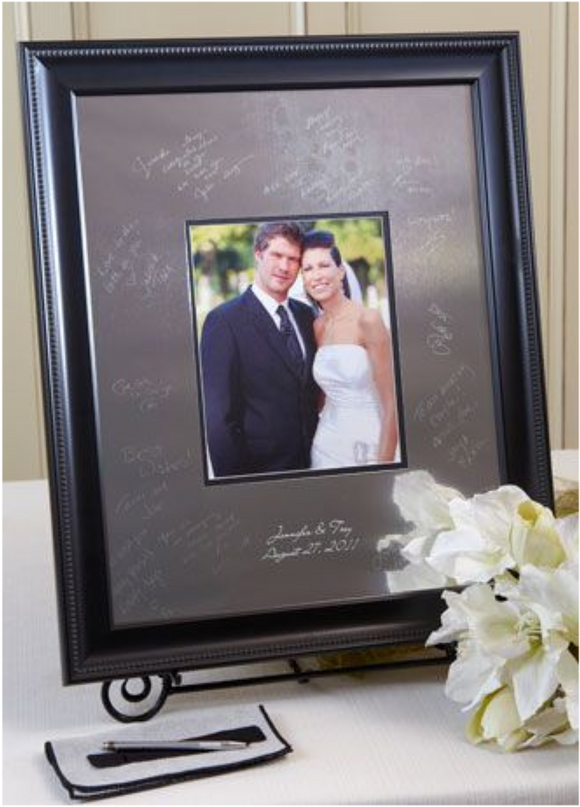 Contemporary Beaded Signature Frame Guest Book - I Do Engravables