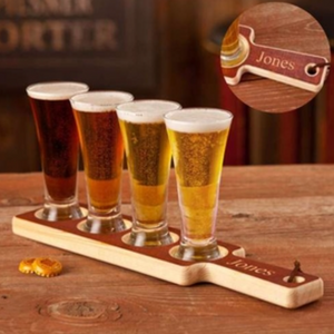 Real Wood Beer Tasting Set - I Do Engravables