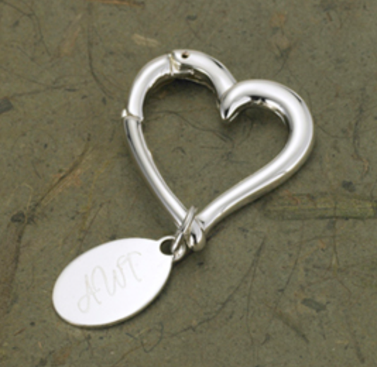 Personalized Heart Keychain with Oval Tag - I Do Engravables