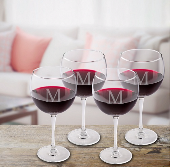 Set of 4 Red Wine Glasses - I Do Engravables