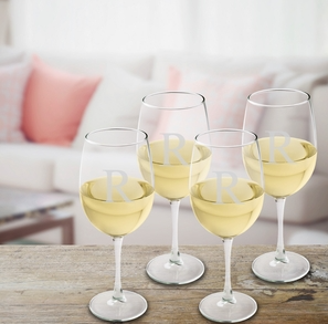 Personalized White Wine Glasses - I Do Engravables