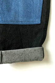 Black denim dungarees with knee patches - Archive