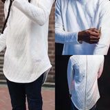 Quilted Back Zip Crewneck Sweater