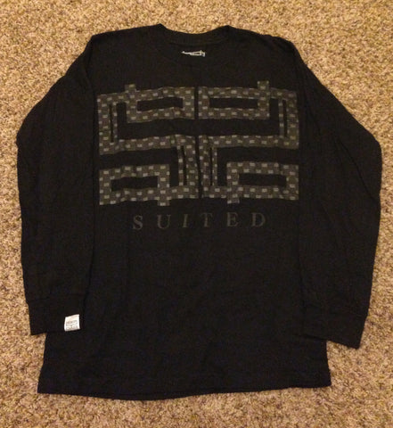 Suited Crewneck Knitted Tees Men's Longsleeve in Black Reflective