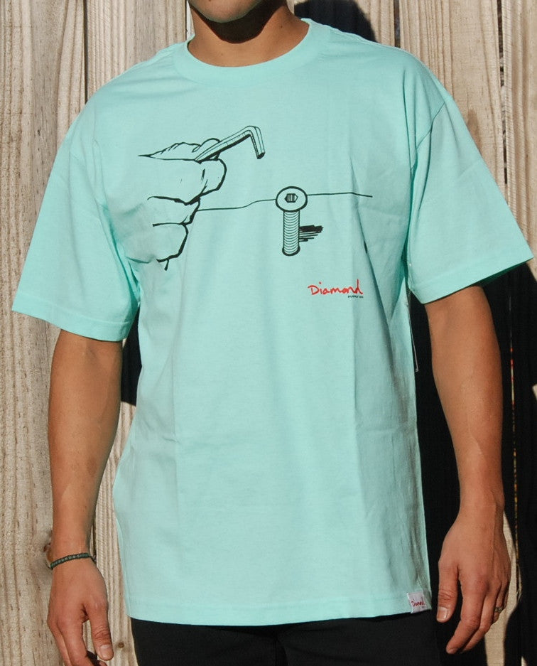 Diamond Supply Co Bolts Crewneck Knitted Tee In Tiffany Blue