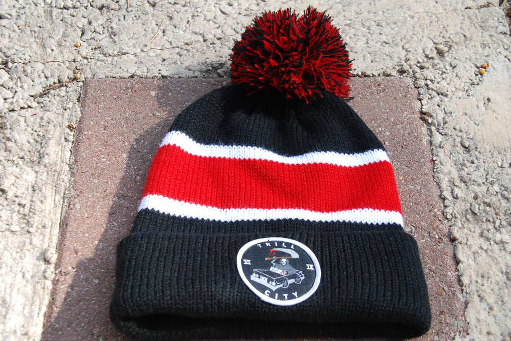 Trill City Kings Puffball Red Beanie