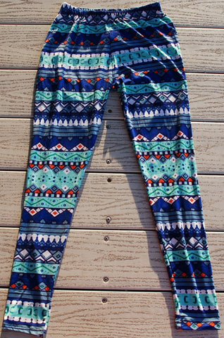 Womens Leggings Blue Tribal