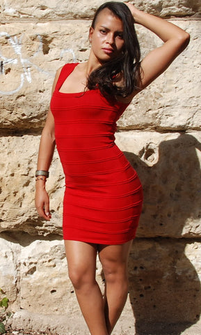 AnM Two Tone BandAid Dress in Red
