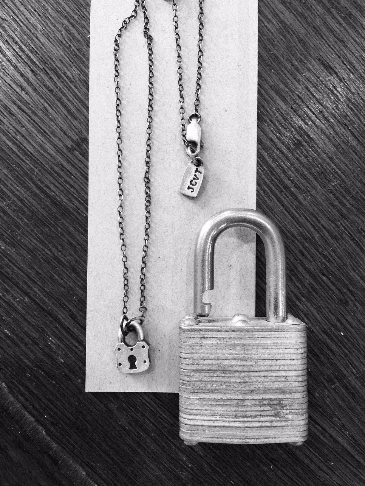 JCVT Sterling Padlock Necklace