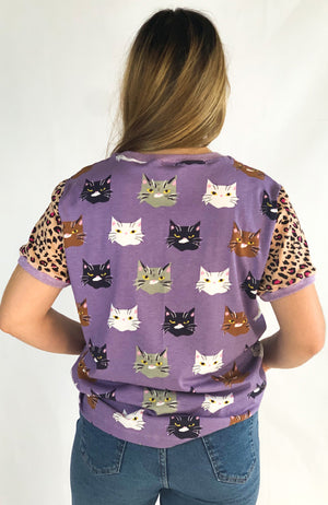 The Good Tee in Purple Cats