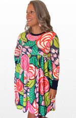 Izzy long sleeve dress in Papercut Rose