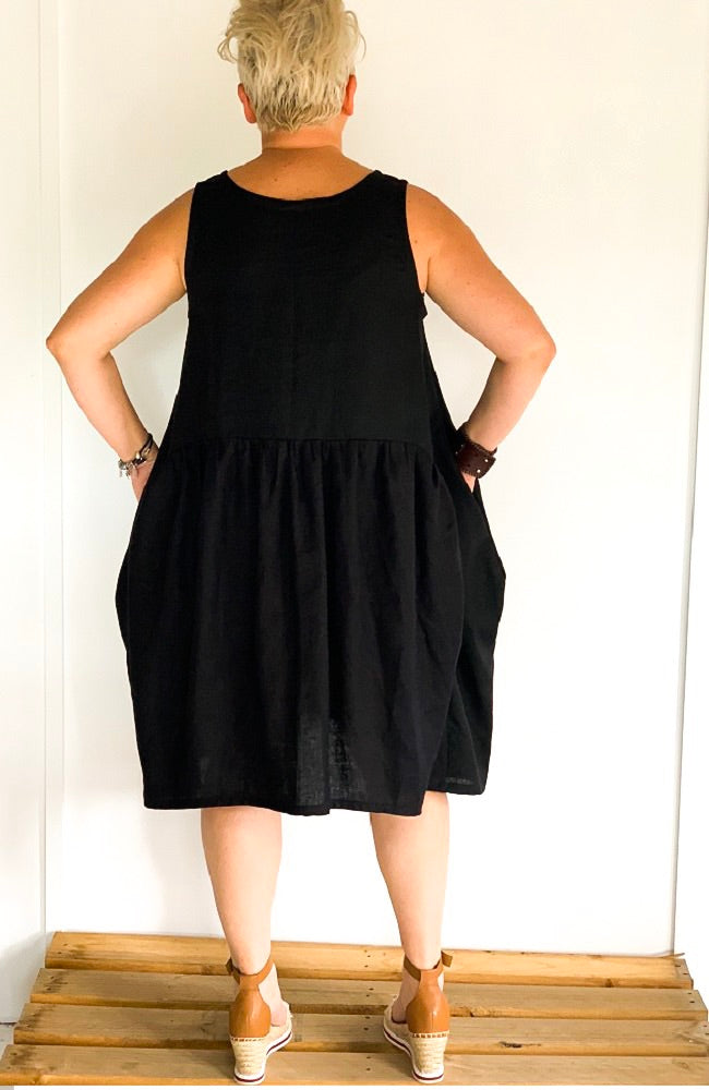 Tilly Dress in Black Linen