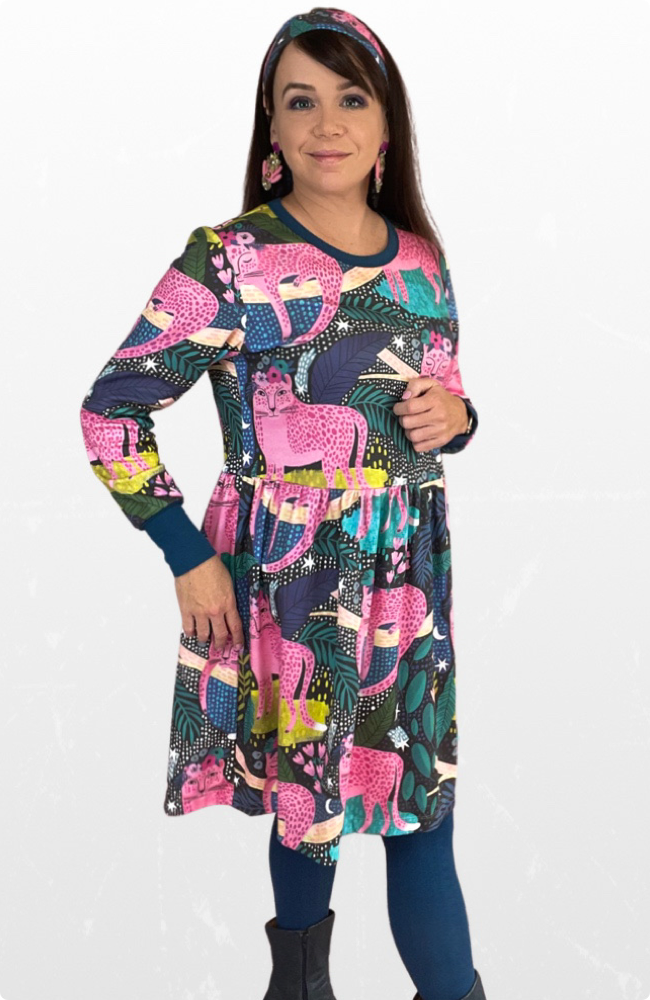 Izzy long sleeve dress in Pink Jungle Cats