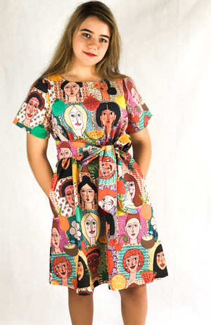 Lulu Dress in Faces of Women
