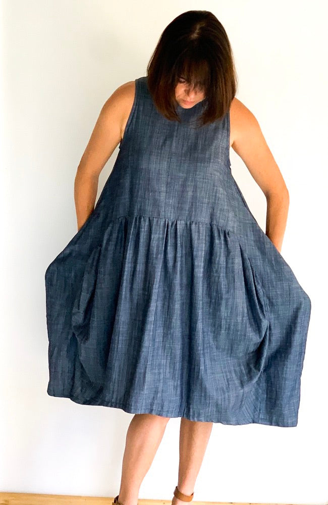 Tilly Dress in Indigo Tencel