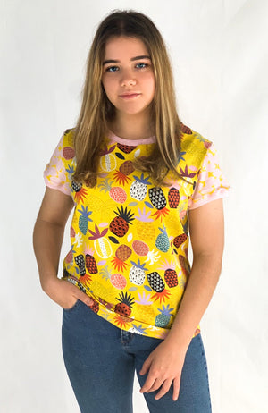 The Good Tee in Yellow Pineapples