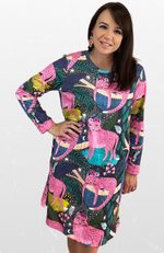 Tee Dress in Pink Jungle Cats