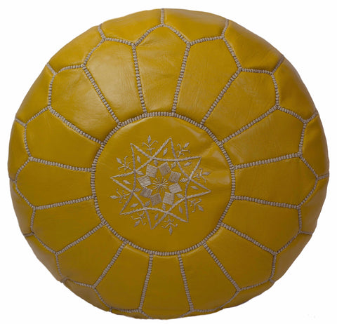 Embroidered Leather Pouf, Mustard
