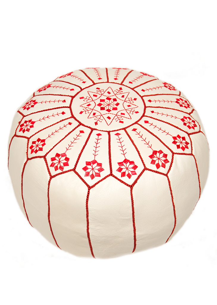 Embroidered Leather Pouf Red On White Starburst Stitch Casablanca Inspiration Embroidered Leather Pouf