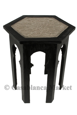 Wood and Silver Inlay Side Table