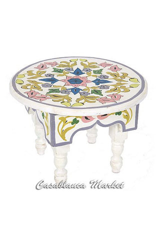 Hand Painted Miniature Table, White