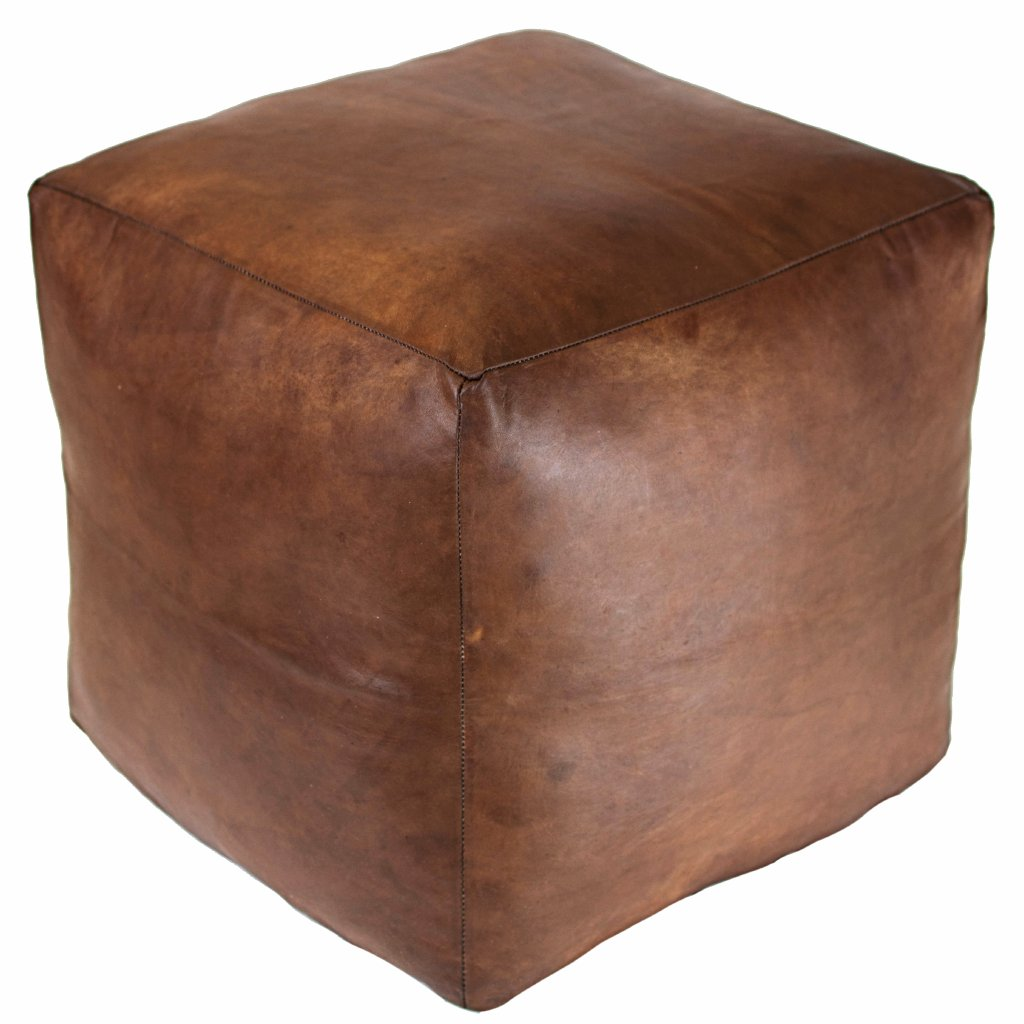 Moroccan Contemporary Leather Pouf, Walnut