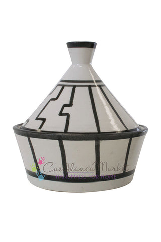 Tapis Design Condiment Serving Tagine, Black and White