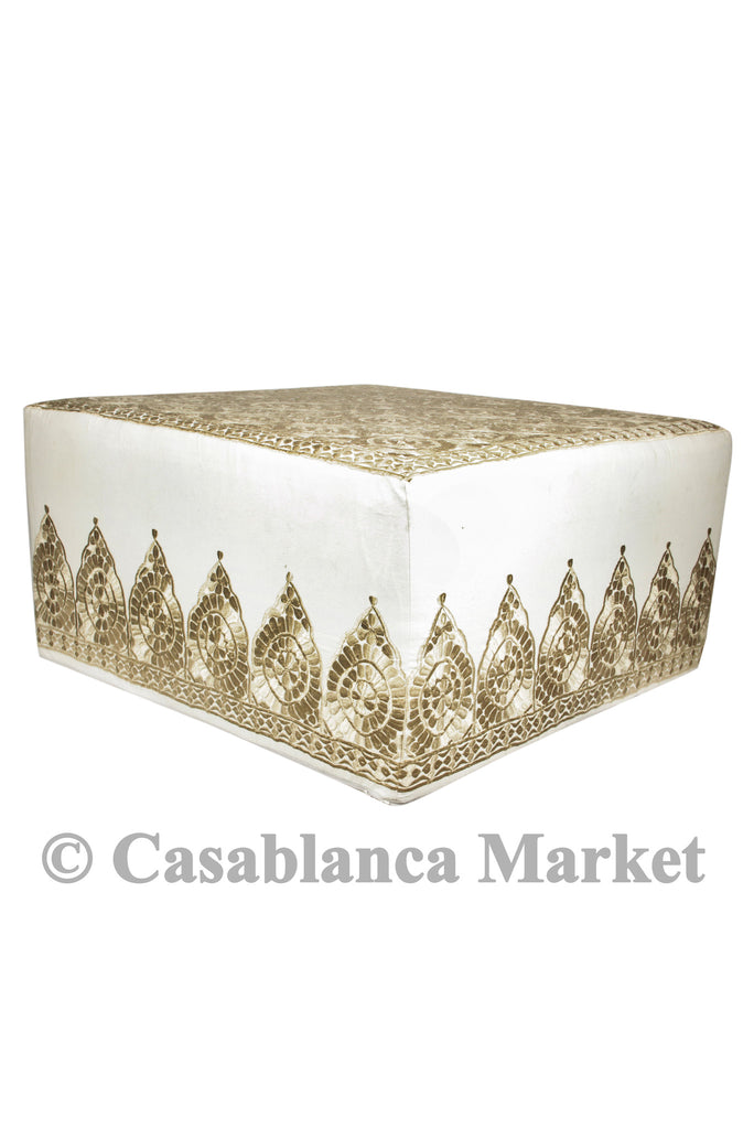 Fez Embroidered Ottoman, Beige/Ivory
